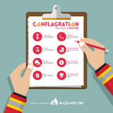 Infographics of conflagration report data in flat design. Icon set for property or real estate insurance. Vector. Infographics of conflagration report data in Royalty Free Stock Photos