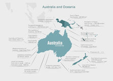 Infographics continent Australia and Oceania blue Stock Photo
