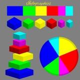 Infographics, cor isométrica figura em um fundo cinzento ilustração stock