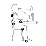 Infographics correct posture at the computer Silhouette of a man Royalty Free Stock Photos