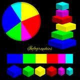 Infographics, couleur isométrique figure sur un fond noir Photographie stock