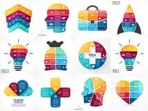 Infographics créatif de flèches de vecteur, diagrammes Image libre de droits