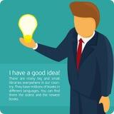 Infographics creative idea. Vector illustration of a good idea. Brainstorm. Businessman describes his idea royalty free illustration