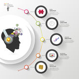 Infographics. Creative mind with headphones. Modern colorful circle with icons. Vector illustration.  stock illustration