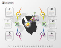 Infographics. Creative mind with headphones. Modern colorful template with icons. Vector illustration Royalty Free Stock Photos