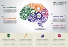 Infographics creativo del cervello Fotografia Stock