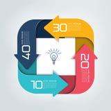 Infographics cuadrado dividido en flechas de cuatro porciones Plantilla, esquema, diagrama, carta, gráfico, presentación Imagen de archivo