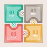Infographics cuatro pasos ajusta rompecabezas Imagen de archivo