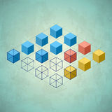 Infographics with cubes. Diamond shaped plane Stock Photo