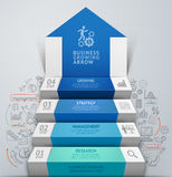 infographics лестницы шага стрелки дела 3d Стоковое Изображение RF