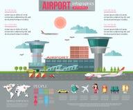 Infographics d'aéroport avec l'endroit pour le texte plat Image stock