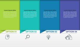 Infographics d'affaires avec 4 étapes ou processus colorés Chronologie avec les pictogrammes linéaires Photographie stock libre de droits