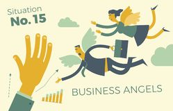 Infographics d'affaires, conjonctures économiques Ange d'affaires Anges d'homme et de femme avec des ailes volant à la délivrance illustration de vecteur