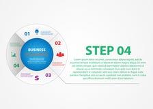 Infographics d'affaires, un cercle avec un choix des étapes illustration stock
