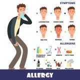 Infographics d'allergie de vecteur d'étable de bande dessinée avec des allergènes et des symptômes d'allergie illustration libre de droits