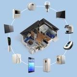 infographics 3D av smart teknologi för hem- automation Arkivbild