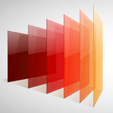 Infographics 3d perspective red, orange and yellow. Abstract shiny rectangles on white background. RGB EPS 10 vector illustration Royalty Free Stock Photos