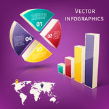 Infographics 3d set. Abstract 3d pie chart columns and map business infographics layout template vector illustration Royalty Free Stock Photos