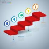 Infographics 3D trappamoment till framgångbegreppet Mall för infographics för affärstimeline modern färgrik med symboler och best vektor illustrationer