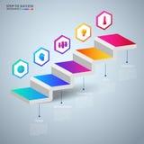 Infographics 3D trappamoment till framgångbegreppet Mall för infographics för affärstimeline modern färgrik med symboler och best Arkivfoton