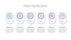 Infographics da carta de processo de negócios com 6 segmentos da etapa Circul ilustração do vetor