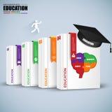 Infographics da educação do negócio da etapa dos livros Fotografia de Stock