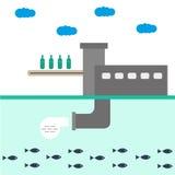 Infographics da ilustração do vetor da planta de fábrica da ecologia A proteção da natureza Desperdício, poluição de água Imagens de Stock Royalty Free