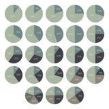 Infographics da porcentagem do vetor 10 15 20 25 30 35 40 45 50 55 60 65 70 75 80 85 gráfico de setores circulares de 90 por cent Imagem de Stock Royalty Free