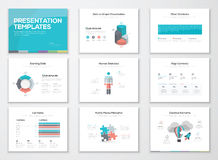 Infographics-Darstellungsschablonen und Geschäftsmedienbroschüren Stockfotografie