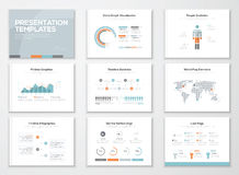Infographics-Darstellungsschablonen und Geschäftsbroschüren Stockbilder