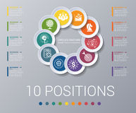 Infographics de calibre d'éléments de diagramme de cercles 10 positions Photographie stock libre de droits