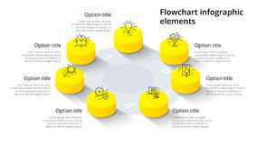 Infographics de diagramme de processus d'affaires avec 7 segments d'étape Isomet illustration libre de droits