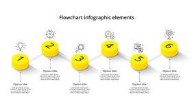Infographics de diagramme de processus d'affaires avec 6 segments d'étape Isomet illustration stock