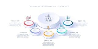 Infographics de diagramme de processus d'affaires avec 5 segments d'étape Isomet illustration libre de droits
