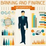 Infographics de la actividad bancaria y de las finanzas Foto de archivo libre de regalías