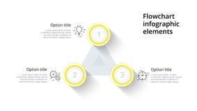 Infographics de la carta de proceso de negocio con 3 segmentos del paso Circul Fotografía de archivo libre de regalías