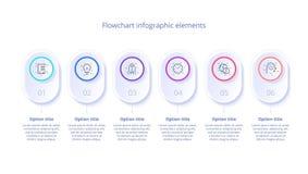 Infographics de la carta de proceso de negocio con 6 segmentos del paso Circul ilustración del vector