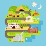 Infographics de la civilización en estilo plano ilustración del vector