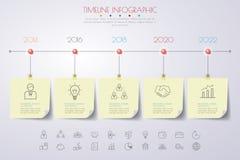 Infographics de la cronología con los iconos fijados Vector Ilustración Fotografía de archivo