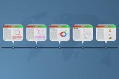 Infographics de la cronología de cinco pasos con las banderas del rectángulo Imágenes de archivo libres de regalías