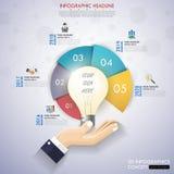 infographics de la cronología de la bombilla 3d con los iconos fijados Vector illu Imágenes de archivo libres de regalías