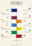Infographics de la cronología con los iconos Vector Fotos de archivo