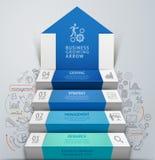 infographics de la escalera del paso de la flecha del negocio 3d Imagen de archivo libre de regalías
