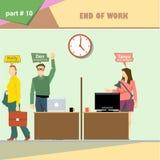 Infographics de la situación de los papeles de la empresa de negocios con el contable, el programador y el diseñador web al final libre illustration