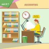 Infographics de la situación de los papeles de la empresa de negocios con el contable en el trabajo ilustración del vector
