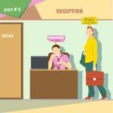 Infographics de la situación de los papeles de la empresa de negocios con el contable y la secretaria que hablan en el teléfono e ilustración del vector