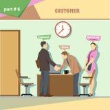 Infographics de la situación de los papeles de la empresa de negocios con el jefe, la secretaria y el cliente sacudiendo las mano libre illustration