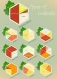 Infographics de la vendimia fijado - tipos de cocteles Foto de archivo libre de regalías