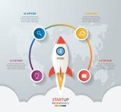 Infographics de lanzamiento del círculo del vector con el lanzamiento del cohete Foto de archivo libre de regalías