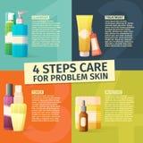 Infographics de los cuatro pasos del cuidado para el problema stock de ilustración